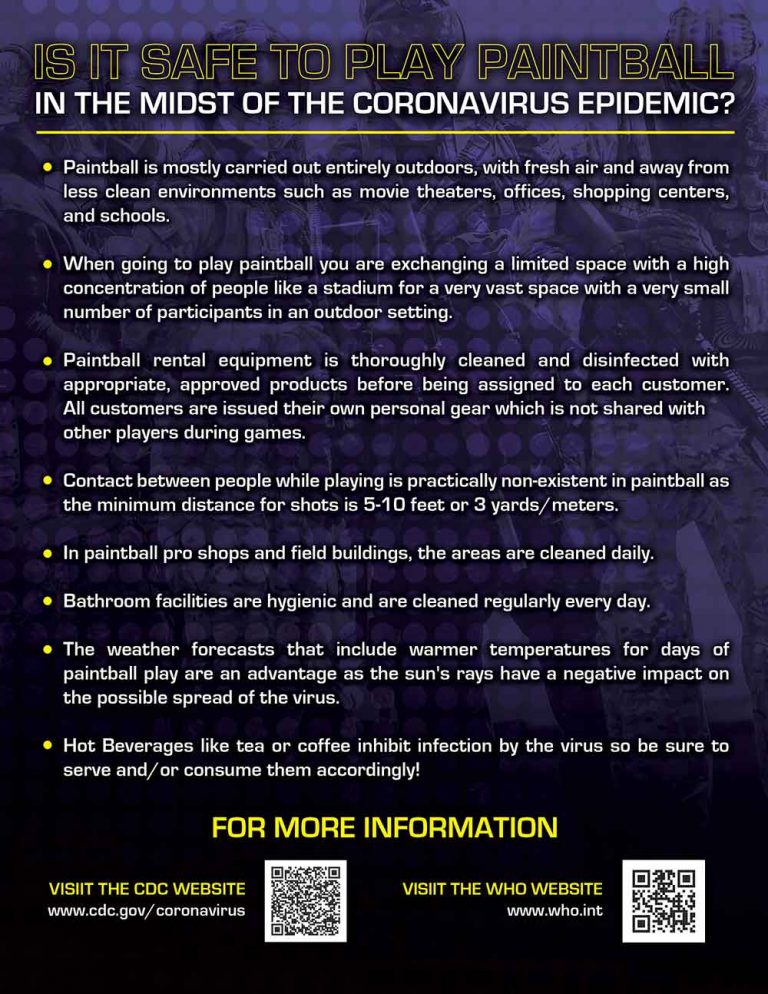 Is it safe to play paintball notice Covid 19