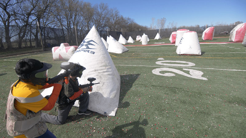 Kids playing Low Impact Paintball on airball at Elite Sports Paintball Park
