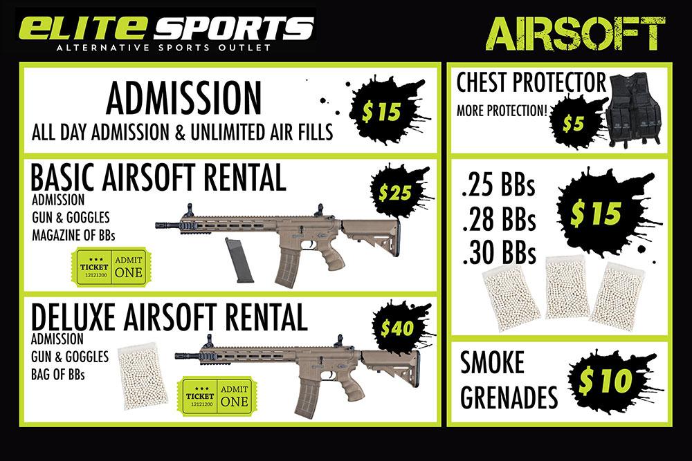 Airsoft Rental Pricing Elite Sports Park