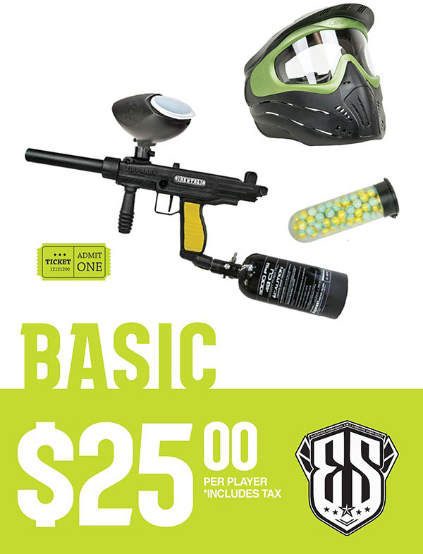 Basic Paintball Rental Package Pricing $25