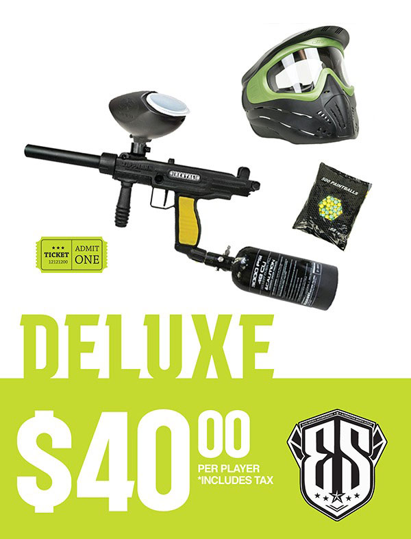 Deluxe Paintball Rental Pricing $40