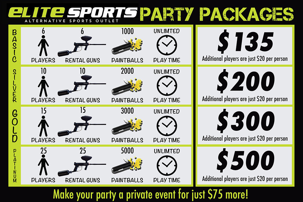 Paintball Party Rental Pricing Elite Sports Park