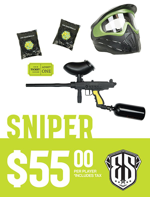 Sniper Paintball Rental Package $55